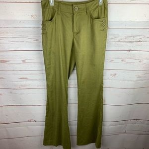 CAbi | Green Charlie Linen Blend Work Wear Pants